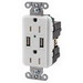 Hubbell Wiring USB15X2W Tamper-Resistant Decorator Specification Grade Standard Size USB Charger Duplex Receptacle; Screw Mount, White