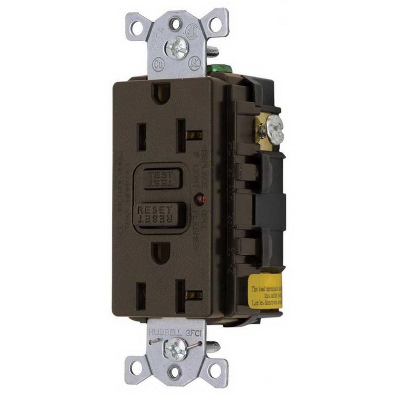 hubbell wiring gf20lu standard size gfci receptacle led hubbell wiring gf20lu standard size gfci receptacle led screw mount 125 volt ac 20 amp 2 pole 3 wire nema 5 20r brown
