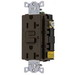 Hubbell Wiring GF20LU Standard Size GFCI Receptacle with LED; Screw Mount, 125 Volt AC, 20 Amp, 2-Pole, 3-Wire, NEMA 5-20R, Brown