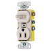 Hubbell Wiring RC108LA tradeSelect® Homeselect™ Combination Toggle Switch with Receptacle; 120 Volt AC Switch, 125 Volt AC Receptacle, 15 Amp, 2-Pole, Self Grounding, Light Almond