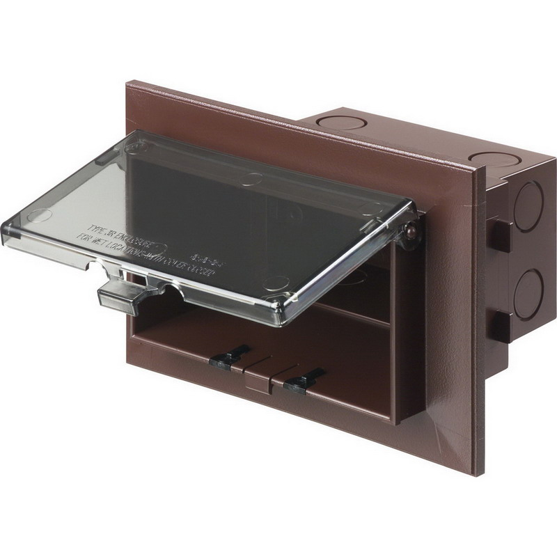 Arlington DHB1BR Low Profile In Box With Adapter Sleeve; UV-Rated Plastic, Brown