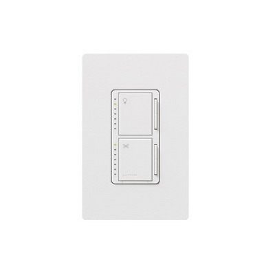 Lutron MA-LFQHW-WH Maestro® Designer Style Dual Digital Fade Dimmer/Fan Control; 120 Volt AC, 1 Amp Fan Control, 300 Watt, Single Pole, Tap On/Off, White