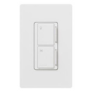Lutron MA-LFQM-WH Maestro® Multi-Location Designer Style Dual Digital Fade Dimmer/Fan Control; 120 Volt AC, 1 Amp Fan Control, 300 Watt, Tap On/Off, White