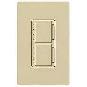 Lutron MA-LFQM-IV Maestro® Multi-Location Designer Style Dual Digital Fade Dimmer/Fan Control; 120 Volt AC, 1 Amp Fan Control, 300 Watt, Tap On/Off, Ivory