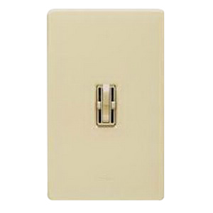 Lutron AY2-LFSQ-IV Ariadni® Quiet 3-Speed Traditional Style Preset Dual Light Dimmer/Fan Control; 120 Volt AC, 1.5 Amp Fan Control, 300 Watt Light, Single Pole, Toggle Slide, Ivory