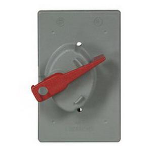 Cooper Wiring S2983 Locking 1-Gang Weatherproof Cover; Flush Mount, Tough Plastic, Gray