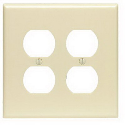 Leviton 80516-I Cheetah™ Mid Size 1-Gang Duplex Receptacle Wallplate; Device Mount, Plastic, Light Almond
