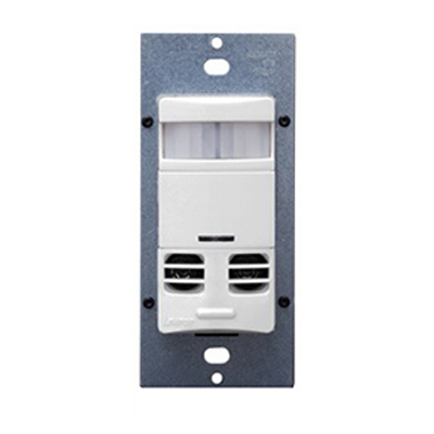 Leviton OSSMT-MDW Decora® Passive Infrared and Ultrasonic Occupancy Sensor; 120/277 Volt AC, 2400 Sq ft, Automatic Off, Manual On, White
