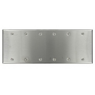 Leviton 84066-40 Blank Wallplate; Box Mount, 302 Stainless Steel, Silver