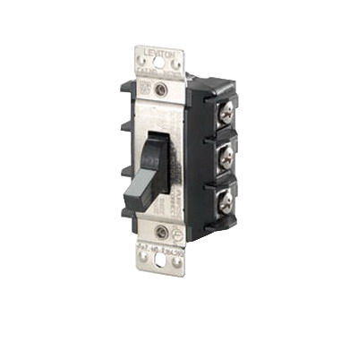 Leviton MS303-DS Industrial AC Motor Starting Switch; 3-Pole, Manual Toggle Operator, 600 Volt, 30 Amp, Black