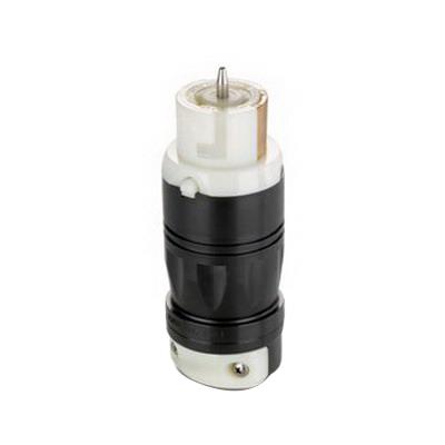 Leviton CS6364C Black & White® California-Style Grounding Locking Connector; 50 Amp, 125/250 Volt AC, 4-Wire, Black/White