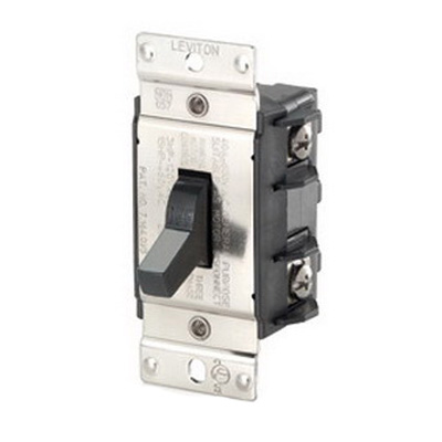 Leviton MS402-DS Industrial AC Motor Starting Switch; 2-Pole, Manual Toggle Operator, 600 Volt, 40 Amp, Black