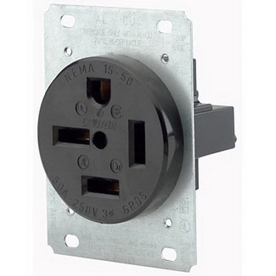 Leviton 8450 Straight Blade Power Receptacle; Box/Flush Mount, 250 Volt, 50 Amp, 3-Pole, 4-Wire, NEMA 15-50R, Black