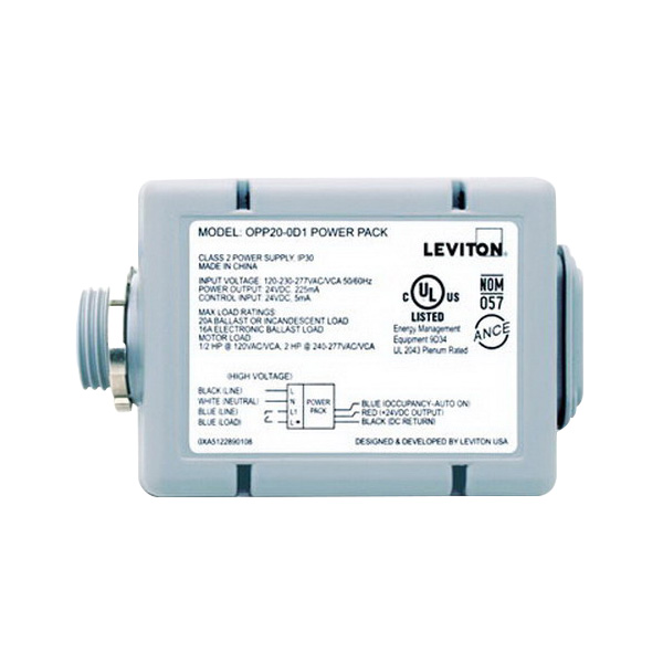 Leviton OPP20-D2 Standard Power Pack; 24 Volt DC Low Input, 24 Volt DC Output, 2 Mili-Amp Input, 225 Mili-Amp Output, Gray
