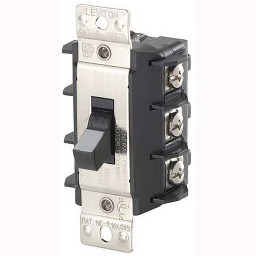 Leviton MS303-DSS Industrial AC Motor Starting Switch; 3-Pole, Manual Short Toggle Operator, 600 Volt, 30 Amp, Black