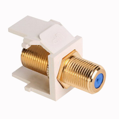 Leviton 40831-BT QuickPort® F-Type Connector; Feed-Through, Polypropylene, Gold-Plated, Light Almond, Snap-In Mount