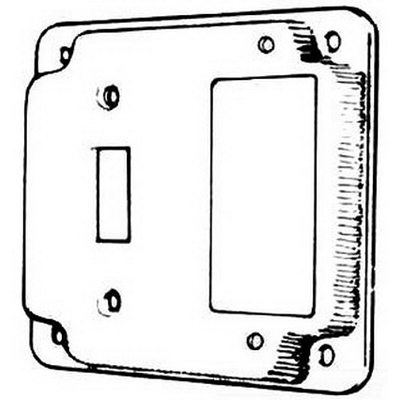 Mulberry 11436 1 Toggle Switch 1 GFCI Receptacle Exposed Work Cover; 1/2 Inch Raised, Baked Cadilite Steel