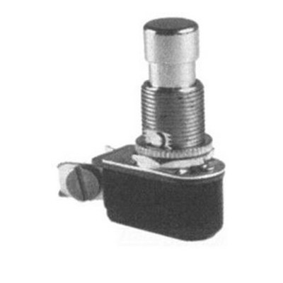 Selecta Switch SS216-11-BG Push Button Switch 125/250 Volt AC  6/3 Amp  On/Off Momentary  SPST  Brass/Nickel Cap Actuator