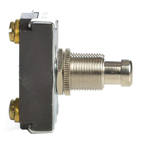 Selecta Switch SS228-BG Push Button Switch 125/250 Volt AC  15/10 Amp  On/Off Momentary  SPST NO  Brass/Nickel Cap Actuator