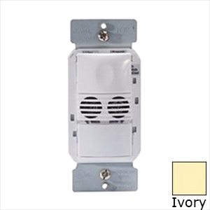 Watt Stopper DW-100-I Dual Technology Occupancy Sensor; 120/230/277 Volt, 525 Sq ft, Automatic On/Off, Manual On/Off, Ivory