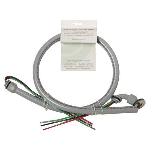 EPCO ACWNM843-IRA Air Conditioner Whip; 4 ft, 3/4 Inch, Straight Connector x 90 Degree NMC