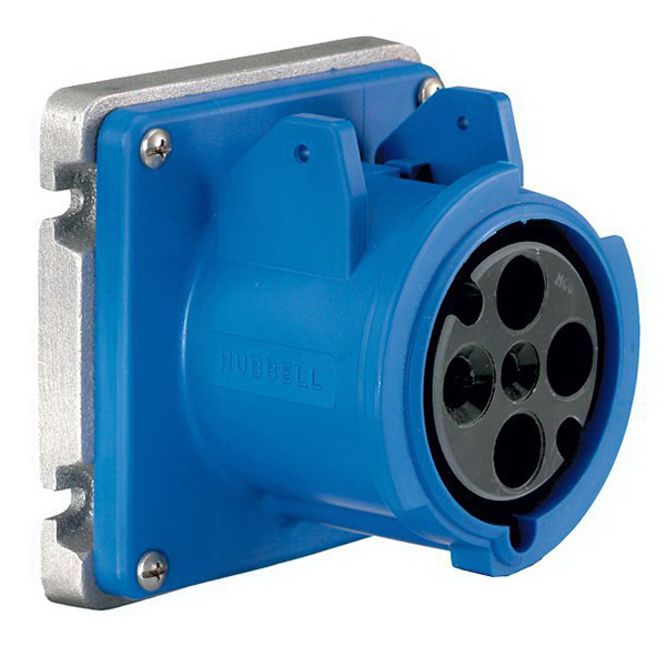 Hubbell Wiring A4100R9 Receptacle; 63 Amp, 250 Volt, 3-Pole, 4-Wire, Screw Terminal, Blue