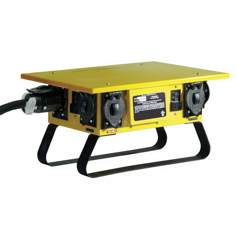Hubbell Wiring TPDS Temporary Standard Size GFCI Power Distribution Box; 50 Amp, 120/240 Volt, 1-Phase, NEMA 3R, Yellow