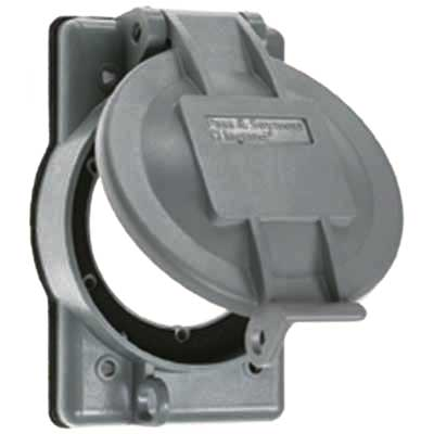 Pass & Seymour WPG-2 Weatherproof Cover; 20/30 Amp, Plastic, Gray, For Flanged Inlet/Outlet