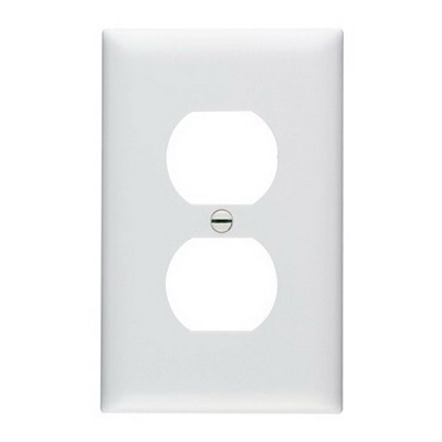 Pass & Seymour TP8-W tradeMaster Chemical Resistant 1-Gang Duplex Receptacle Wallplate Wall Mount- Nylon- White-