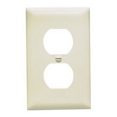 Pass & Seymour TP8-LA tradeMaster Chemical Resistant 1-Gang Duplex Receptacle Wallplate Wall Mount- Nylon- Light Almond-