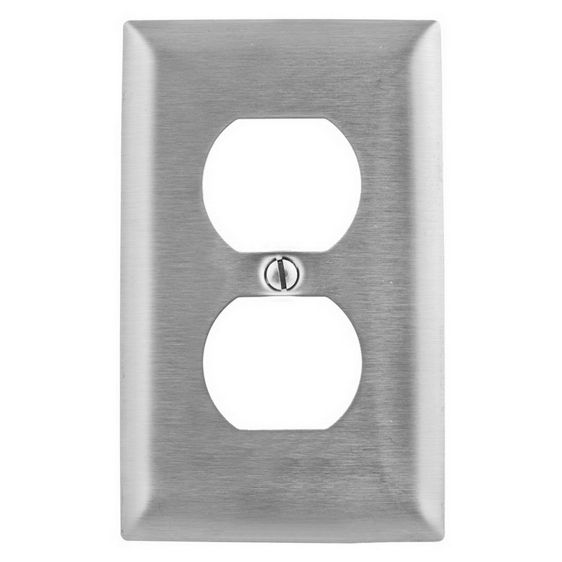 Hubbell Wiring SS8 1-Gang Duplex Receptacle Wallplate; Wall Mount, Stainless Steel, Silver