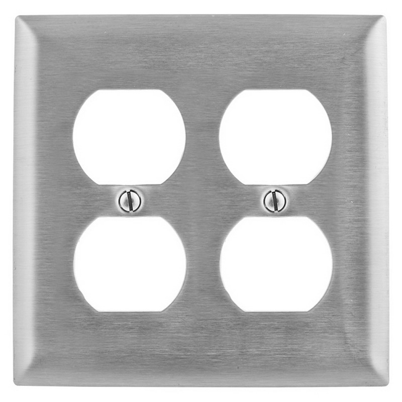 Hubbell Wiring SS82 2-Gang Duplex Receptacle Wallplate; Wall Mount, Stainless Steel, Silver