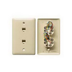 Hubbell Wiring NS747LA Netselect® Standard Size 1-Gang Molded-In Plate; Wall Mount, Thermoplastic, Light Almond