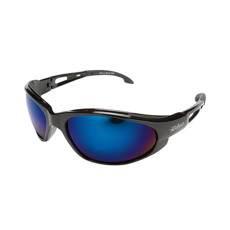 Wolf Peak International SW118 Edge™ Dakura Scratch-Resistant Safety Glasses; Universal, Black Frame, Blue Mirror Lens