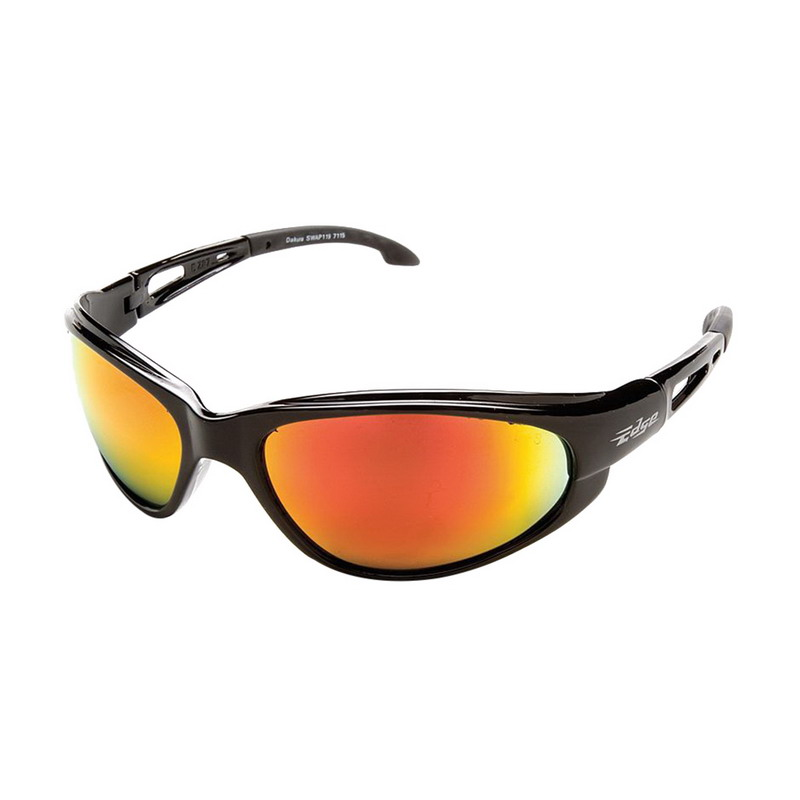 Wolf Peak International SWAP119 Edge™ Dakura Scratch-Resistant Safety Glasses; Universal, Black Frame, Red Mirror Lens
