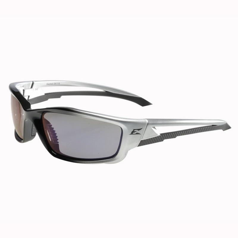 Wolf Peak International SK118 Edge™ Kazbek Scratch-Resistant Safety Glasses; Universal, Black/Silver Frame, Blue Mirror Lens