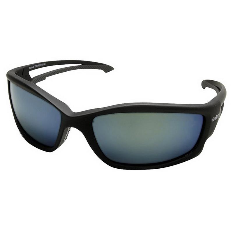 Wolf Peak International TSKAP218 Edge™ Kazbek Scratch-Resistant Safety Glasses; Universal, Black Frame, Blue Mirror Lens