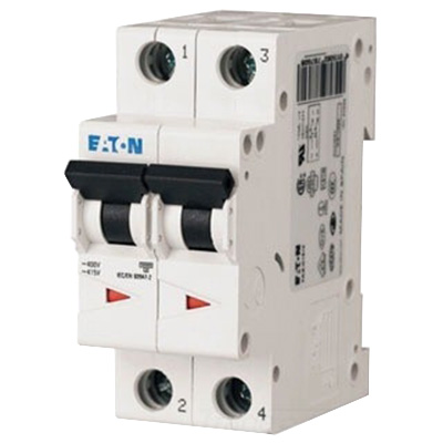 Eaton / Cutler Hammer FAZ-C6/2-NA Miniature Circuit Breaker; 6 Amp, 277/480 Volt AC, 125 Volt DC, 2-Pole, DIN Rail Mount