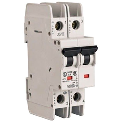 Eaton / Cutler Hammer FAZ-D3/2-NA Miniature Circuit Breaker; 3 Amp, 277/480 Volt AC, 125 Volt DC, 2-Pole, DIN Rail Mount