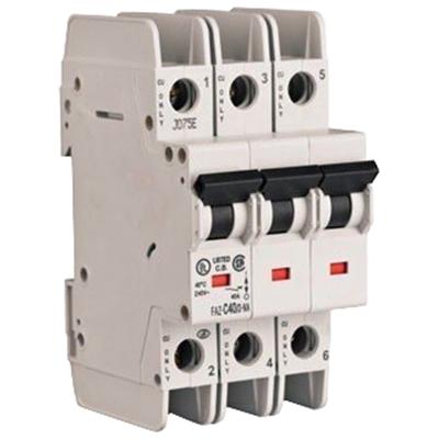 Eaton / Cutler Hammer FAZ-D40/3 Supplementary Protector; 40 Amp, 480Y/277 Volt AC, 96 Volt DC, 3-Pole, DIN Rail Mount