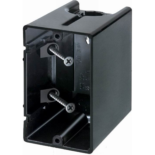 Arlington F101 One Box™ 1-Gang Non-Metallic Outlet Box; Vertical Screw-On Stud
