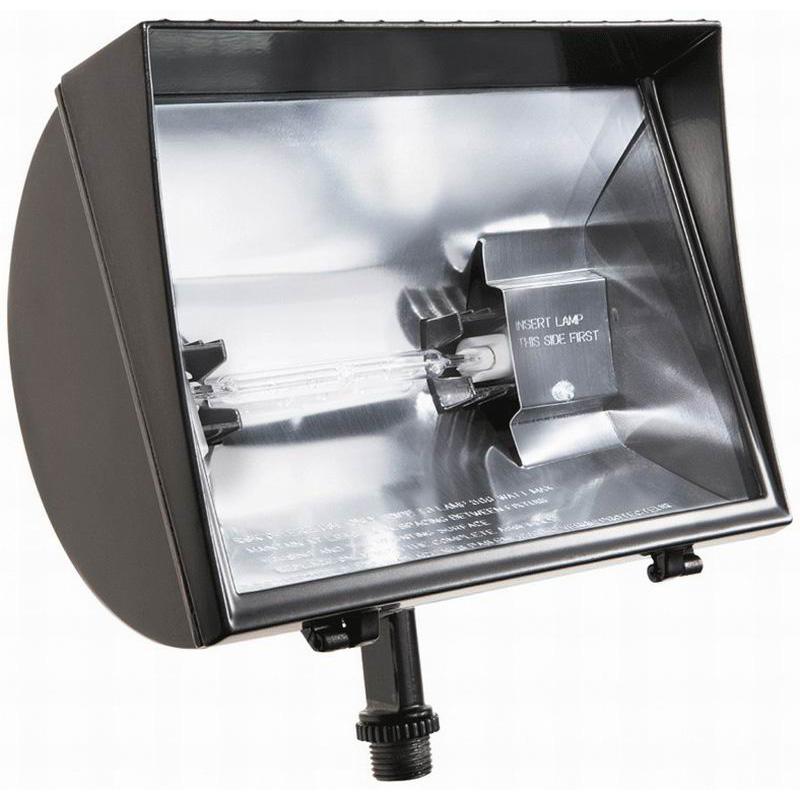 RAB QF500F 1-Light Locking Swivel Mount Quartz Curve Halogen HID Flood Light; 500 Watt, 11000 Lumens, Bronze