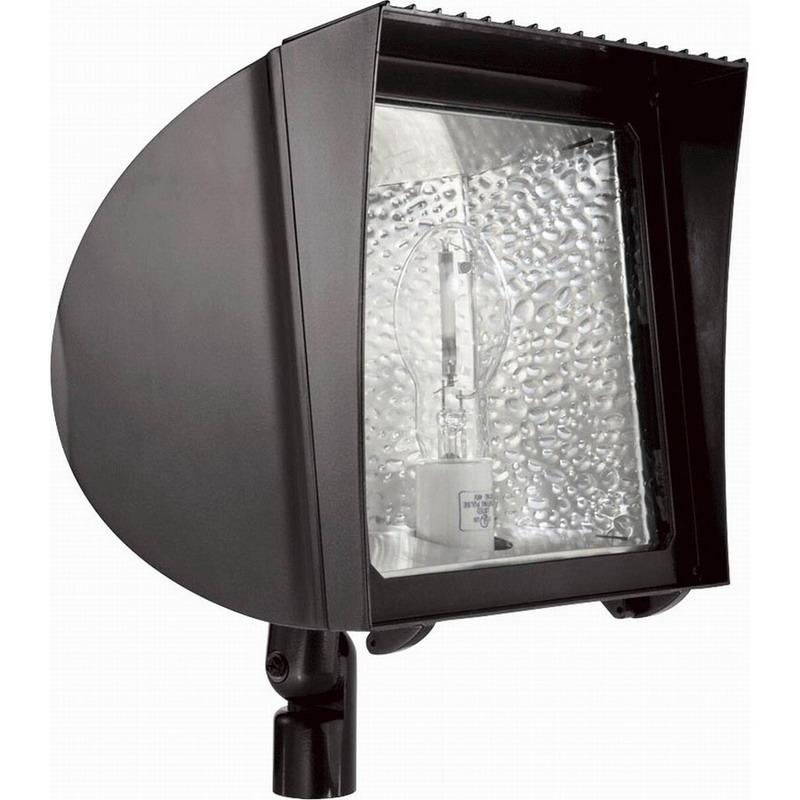 RAB FXH150PSQ/PC FlexFlood® 1-Light Locking Swivel Mount FX-Series 120 Volt Button Photocell HID Flood Light; 150 Watt, 14000 Lumens, Bronze