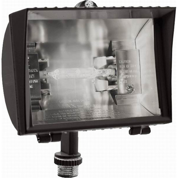 RAB QF150F 1-Light Quartz Curve Halogen Flood Light; 150 Watt, 2800 Lumens, Bronze