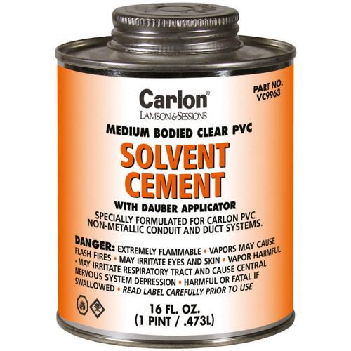 Carlon VC9964 Rigid PVC Cement With Dauber Applicator; 8 oz, Clear