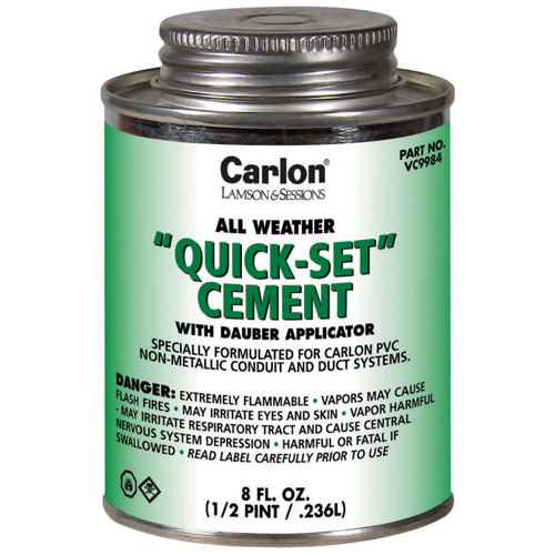 Carlon VC9983 All Weather Quickset Cement With Dauber Applicator; 16 oz, Clear
