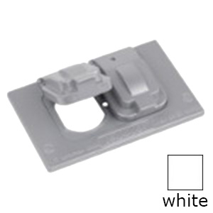 Red Dot DCCDSO-WH 1-Gang Stay Open Weatherproof Duplex Receptacle Box Cover; 4-9/16 Inch x 2-27/32 Inch, Horizontal Device Mount, Die-Cast Aluminum, White