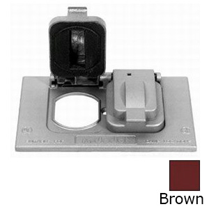 Red Dot DCCDSO-BR Dry-Tite® 1-Gang Stay Open Duplex Receptacle Cover; 4-9/16 Inch x 2-27/32 Inch, Horizontal Device Mount, Die-Cast Aluminum, Brown