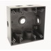 Raco 5338-0 2-Gang Weatherproof Outlet Box; 7 Outlets, 1/2 Inch (1) Back, (2) Each End, (1) Each Side, Gray, Surface Mount