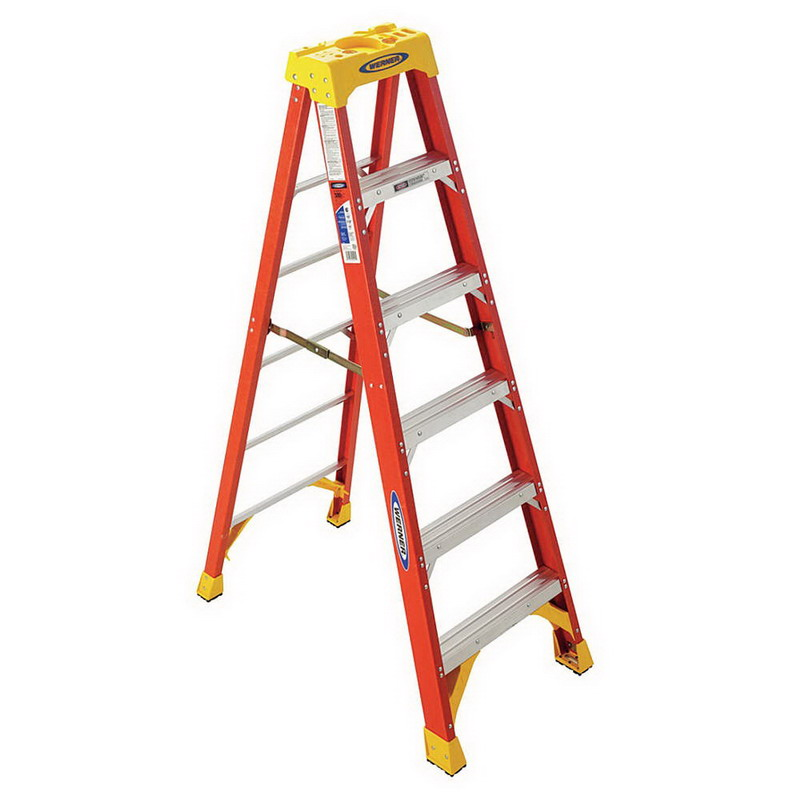 Werner 6206 6200 Series Type IA Step Ladder; 6 ft, 300 lb, Fiberglass